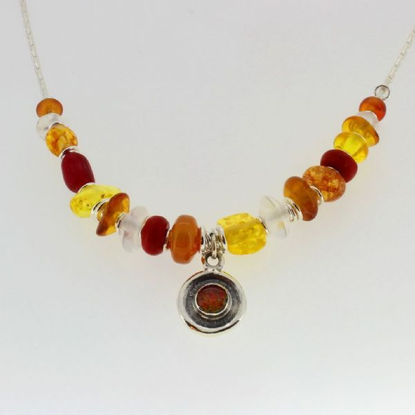 Opal necklace sterling silver chain & setting with Carnelian and Amber